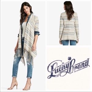 Lucky Brand Fringe Striped Cardigan Sweater Sz S
